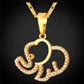 Lindo Elefante Collares y Colgantes Regalo de La Joyería Para Las Mujeres Al Por Mayor Chapado En Oro Completo Cubic Zirconia Collar Animal P1611