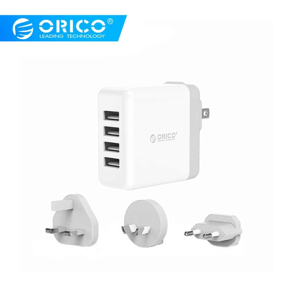 Orico Global Portable USB Charger 4 Port Travel Charger dengan Converter USB Charger Dinding Charger untuk Ponsel Tablet