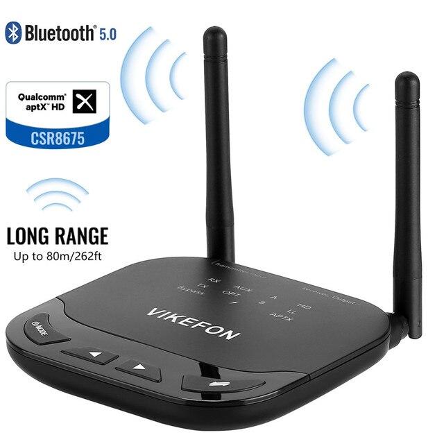 Vikefon bluetooth 5.0 transmissor receptor 2019 atualizado adaptador de áudio sem fio para tv pc, suporte aptx & hd & ll switch, longo tocou