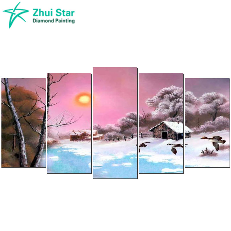 Zhui star 5d diy Diamond embroidery Snow View Cottage diamond painting Cross Stitch full square drill Rhinestone mosaic home gx