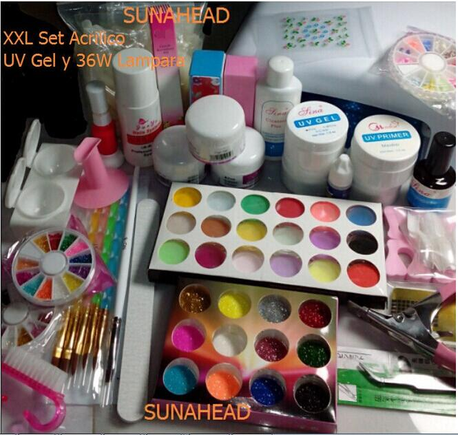 BEMLP Full Set Acrylic Powder UV Gel kit French Tips Brush Pen 36w UV Lamp Nail Art DIY Manicure Cleanser Plus kit