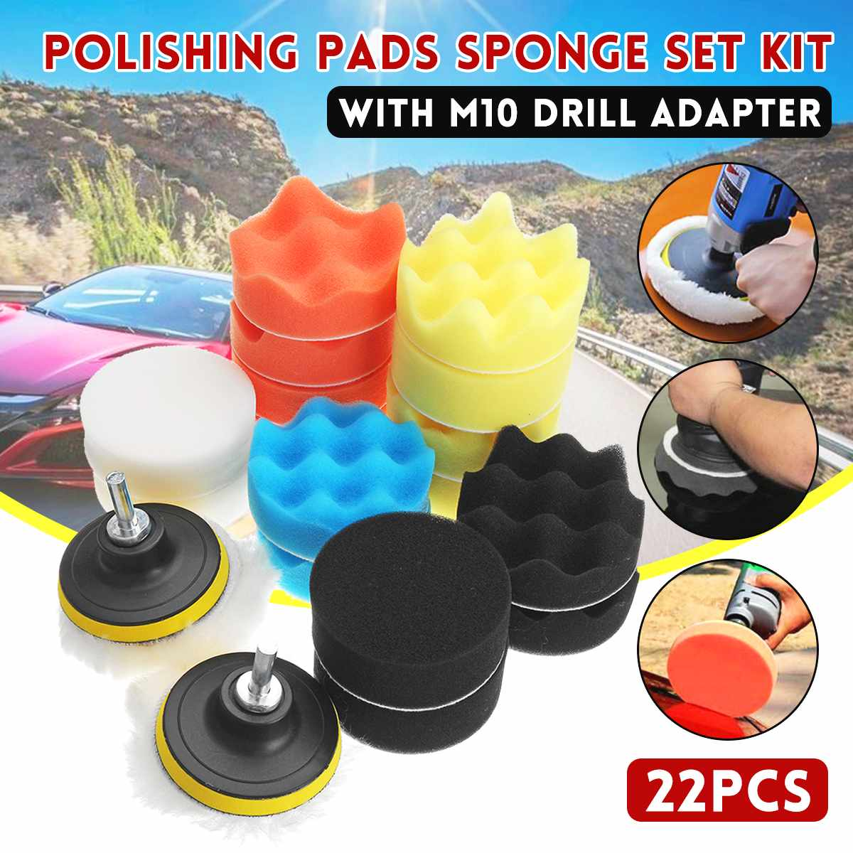 22PCS Buffing Sponge Polishing Pad Hand Tool Kit With M10 Drill Adapter For Car Polisher Wax