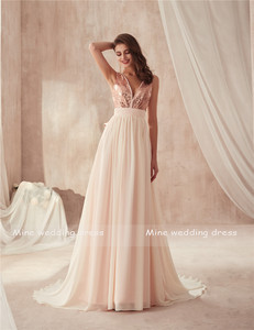 Image 3 - V neck Champagne Sequin and Chiffon Bridesmaid Dress with Huge Bow Back Open Back Wedding Party Dresses