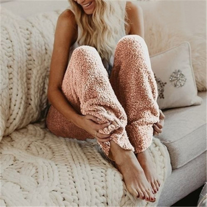 Drop Shipping Plus Size Pyjamas Women Sleep Bottoms Soft Plush Loose Night Trousers Sleepwear Femme Home  Pajama Pants S-5XL