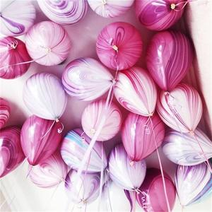 Image 1 - Kuchang 12pcs 10inch Marble Agate Rainbow Round Latex Balloon Wedding Decor Birthday Party baby shower Supplies