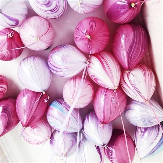 Kuchang 12pcs 10inch Marble Agate Rainbow Round Latex Balloon Wedding Decor Birthday Party baby shower Supplies