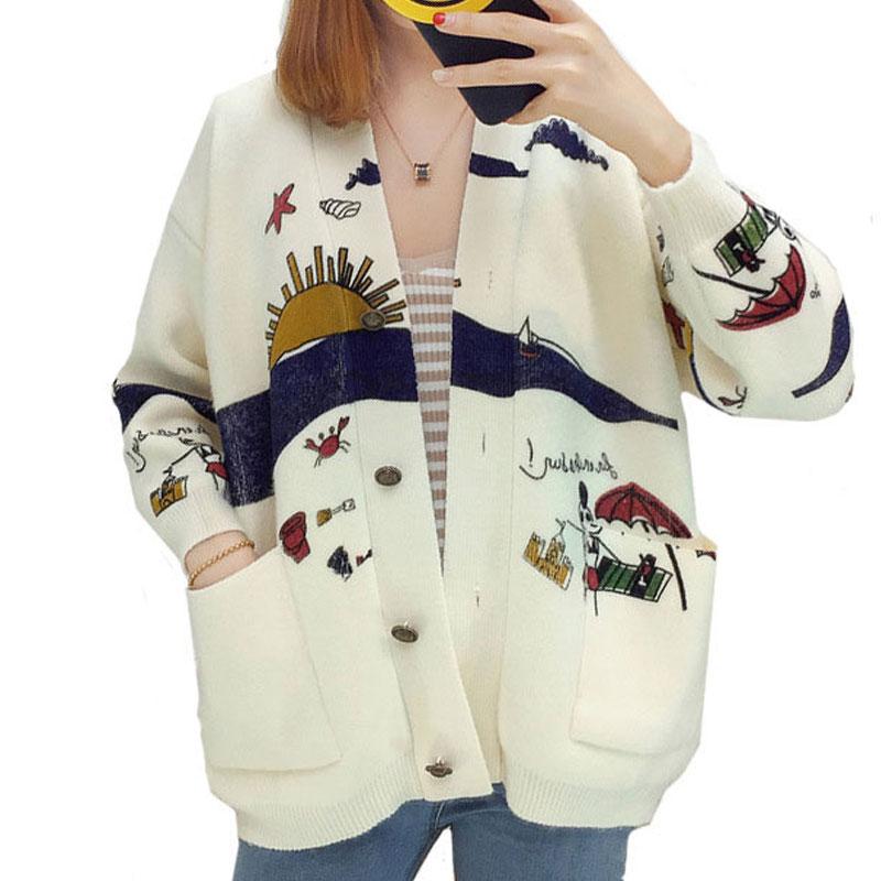 Abrigo Grande Suéter V Primavera Cardigan blanco Caqui Cuello Femenina  Preppy rojo Punto Señoras De Mujeres Coat Imprimir Bolsillo Invierno ... eca4e8395147