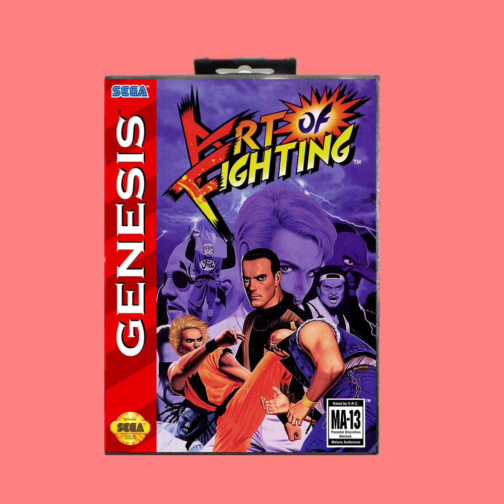 Art Of Fighting 16 Bit Md Game Card Include Retail Box For Sega