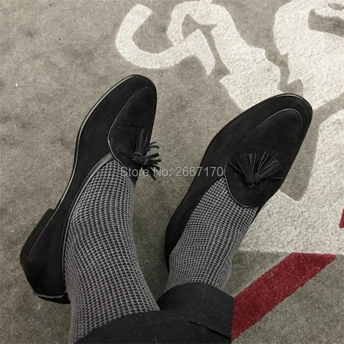 Top Kwaliteit Gentlemen Business Casual Schoenen Plus Size Slip Op Flats Man Bruin Blauw Groen Suède Tassel Loafers mannen - 5