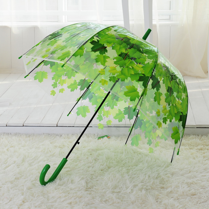 Women Umbrella Rain Sunny Transparent Leaves Mushroom Arch Parasol Kid Umbrellas