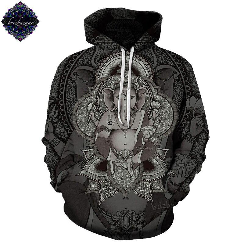 Ganesha By Brizbazaar Art Unisex Hoodie 3D Print Sweatshirts Pullover Harajuku Mens Hoody Streetwear Coat for Autumn 2018 Cloth