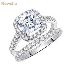 Newshe מוצק 925 כסף חתונה לנשים 2.2 Ct כיכר כרית לחתוך AAA מעוקב זירקון טבעת אירוסין סט