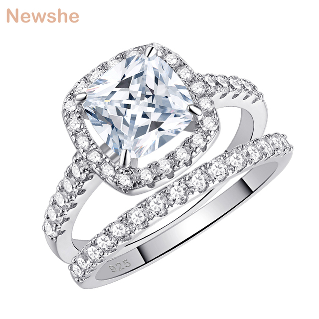 Newshe Solid 925 Sterling Silver Wedding Rings For Women 2.2 Ct Square Cushion Cut AAA Cubic Zircon Engagement Ring Set