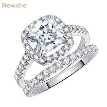 Newshe solidna 925 Sterling srebrne wesele pierścionki dla kobiet 2.2 Ct kwadratowe poduszki Cut AAA sześcienne cyrkon zestaw pierścionków zaręczynowych