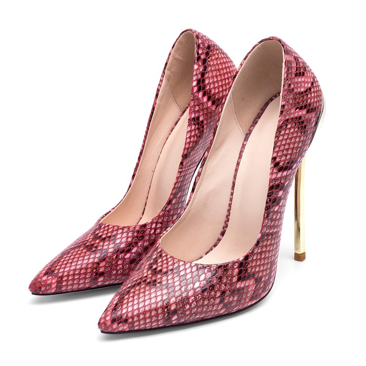 European American Snake High Heel Pumps Pointed Toe Metal Heels Shoes Spring Sexy Women Shoe Fashion Shallow Party Shoes