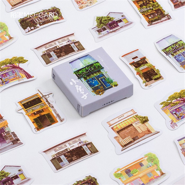 Coloffice Cute Paper House Painting Stickers For Diary Stick It