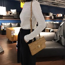 luxury crocodile pattern women shoulder bag bambo handle tote handbag retro female leather clutch purse crossbody bag
