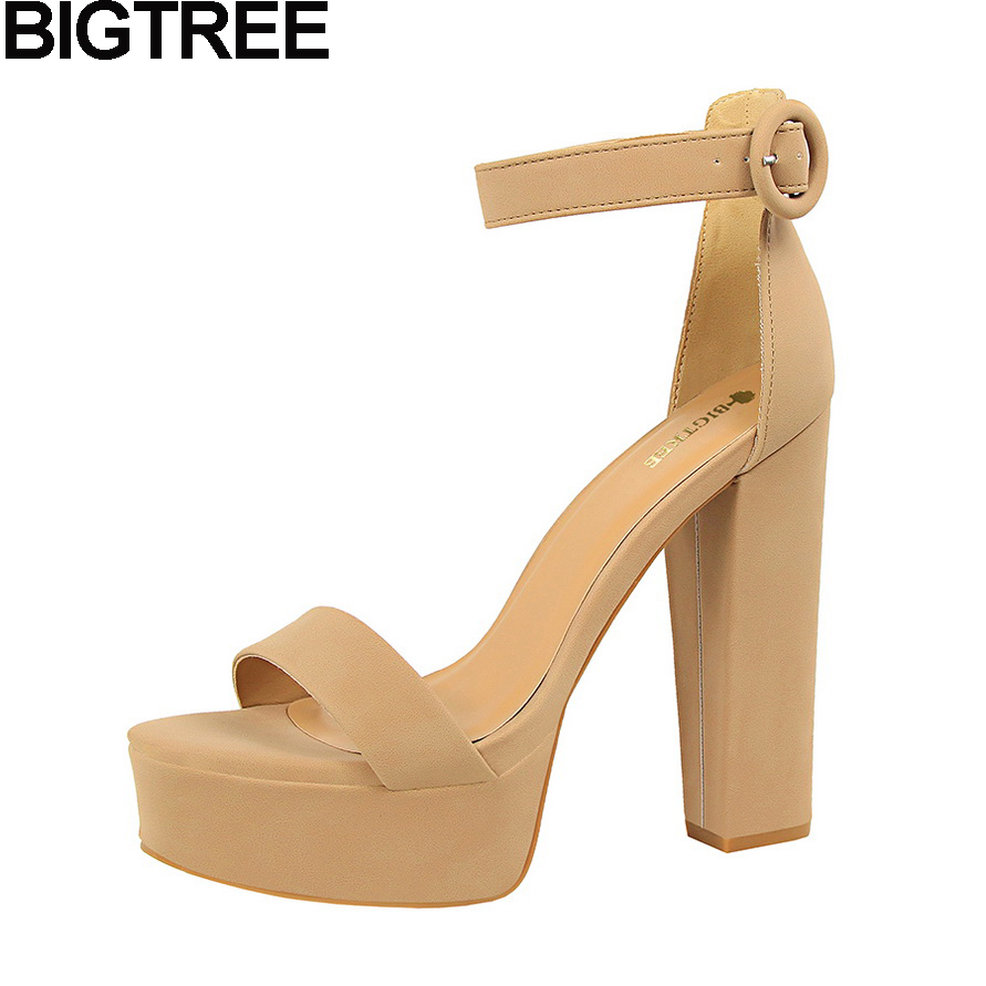 BIGTREE Summer Women Sandals Peep Toe Ankle Strap Thick Square Super Ultra High Heel Shoes Woman Platform Pumps Party Clubwear xiaying smile summer new woman sandals platform women pumps buckle strap high square heel fashion casual flock lady women shoes