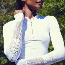 Ayopanda, осенняя новинка, женская спортивная куртка, сексуальная, с длинным рукавом, с дырочками, толстовка, ткань, дышащая, для фитнеса, на молнии, с дырочками, куртка