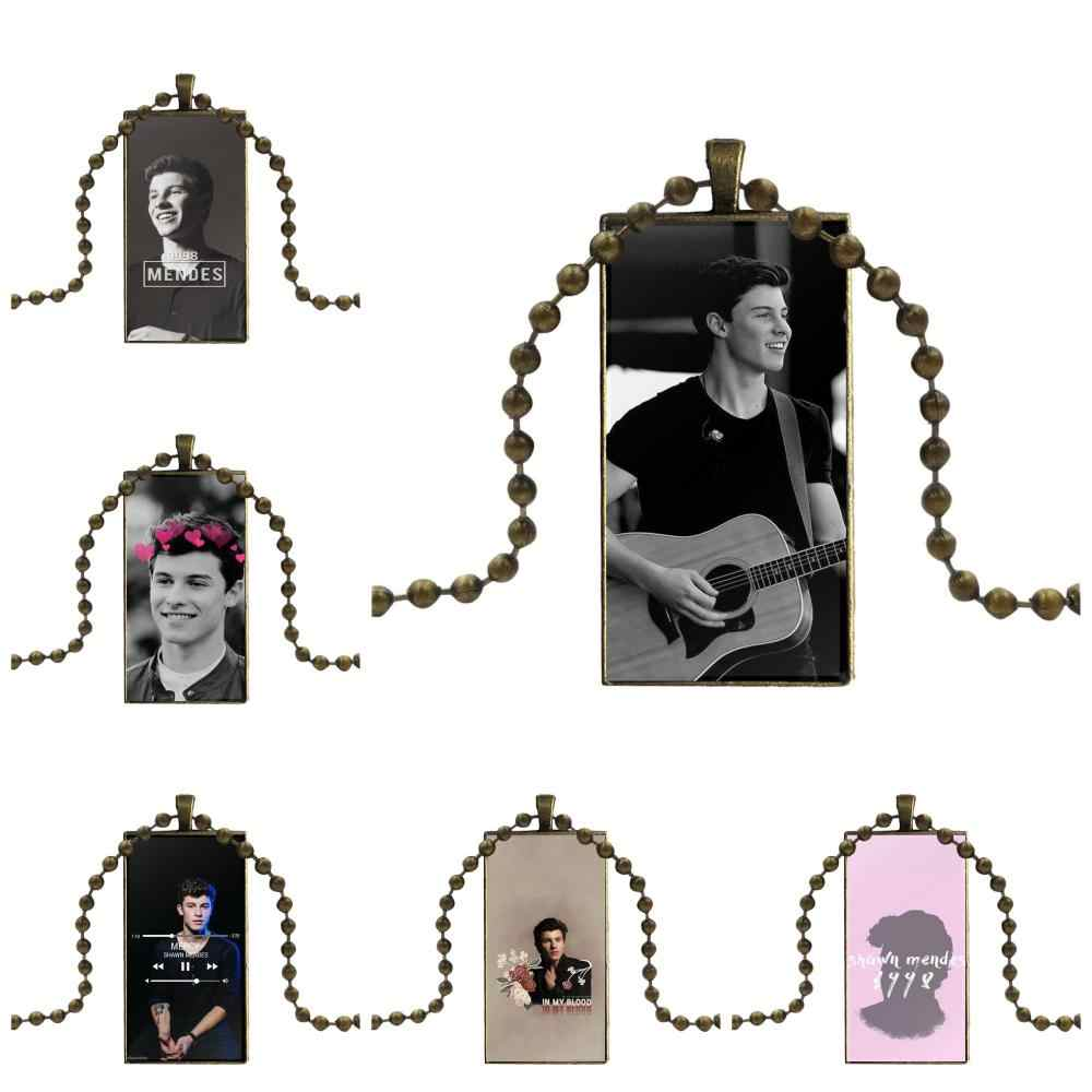 Singer Shawn Mendes 1998 For Women Wedding Vintage Jewelry Bronze Color Glass Cabochon Choker Pendant Long Rectangle Necklace