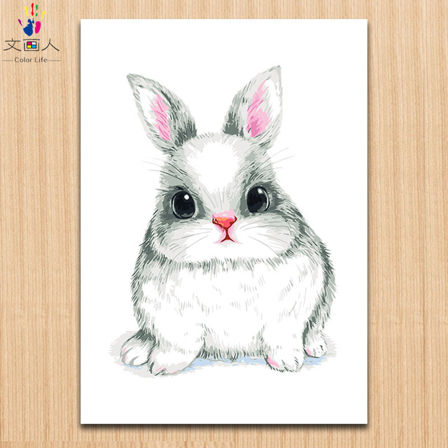 Kleine Schreib Kaninchen Malerei Bilder Farbstoffe Durch Zahlen Mit