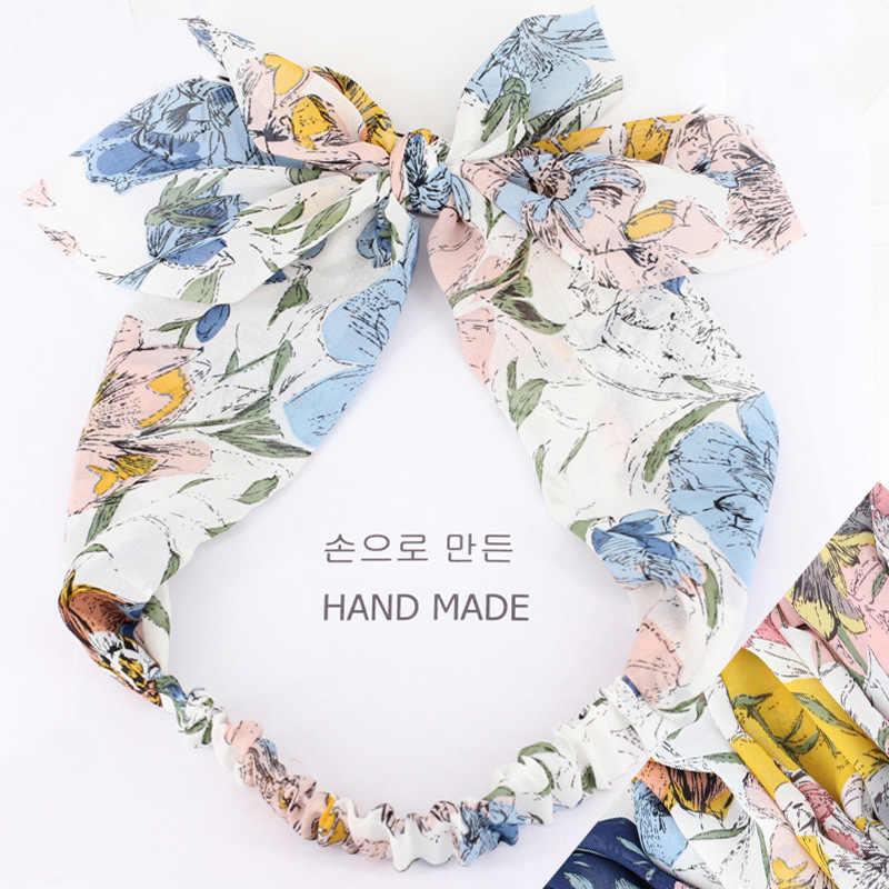 Zuid-korea om cross haar lint haar vrouwelijke hoofd met grote bloemen chiffon knoop haar hoepel elastische band B310 wassen een gezicht