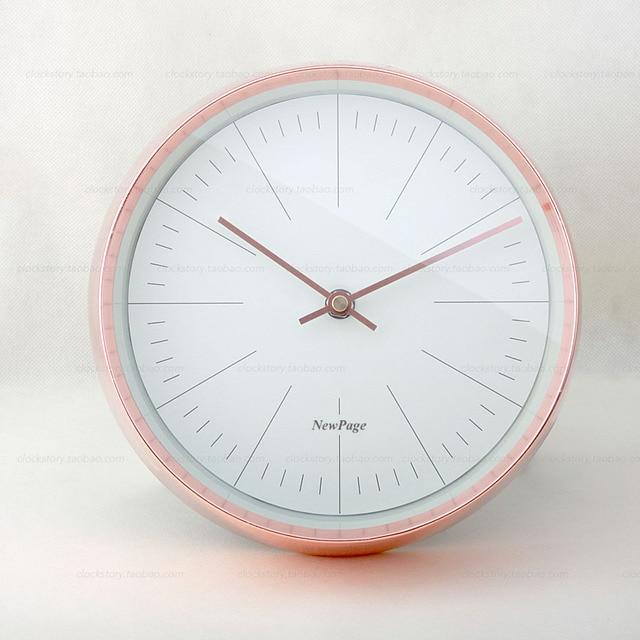 Saat Rose Gold Small Wall Clock Metal Living Room Clocks Relogio De Parede Duvar