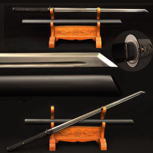 Full Black Samurai Japanese Sword Hand Polished 1060 Carbon Steel Iron Tsuba Kiriha Zukuri Blade Sharp Battle Ready