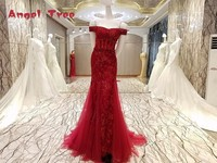 Angel Tree 100 Real Photos High Quality Red Ball Gown Lace Wedding Dresses Appliques Crystal Bridal