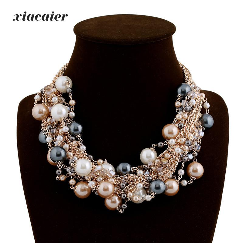 Xiacaier Vintage Chokers Necklaces Women Simulated-pearl Gold Color Choker Necklace Bijoux Femme Statement Necklace Wedding Gift