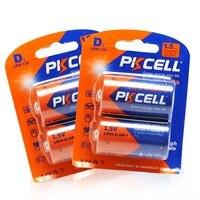 PKCELL 4 шт/2 шт LR20 D Размер 1,5 В щелочная батарея PC1300 одиночные батареи