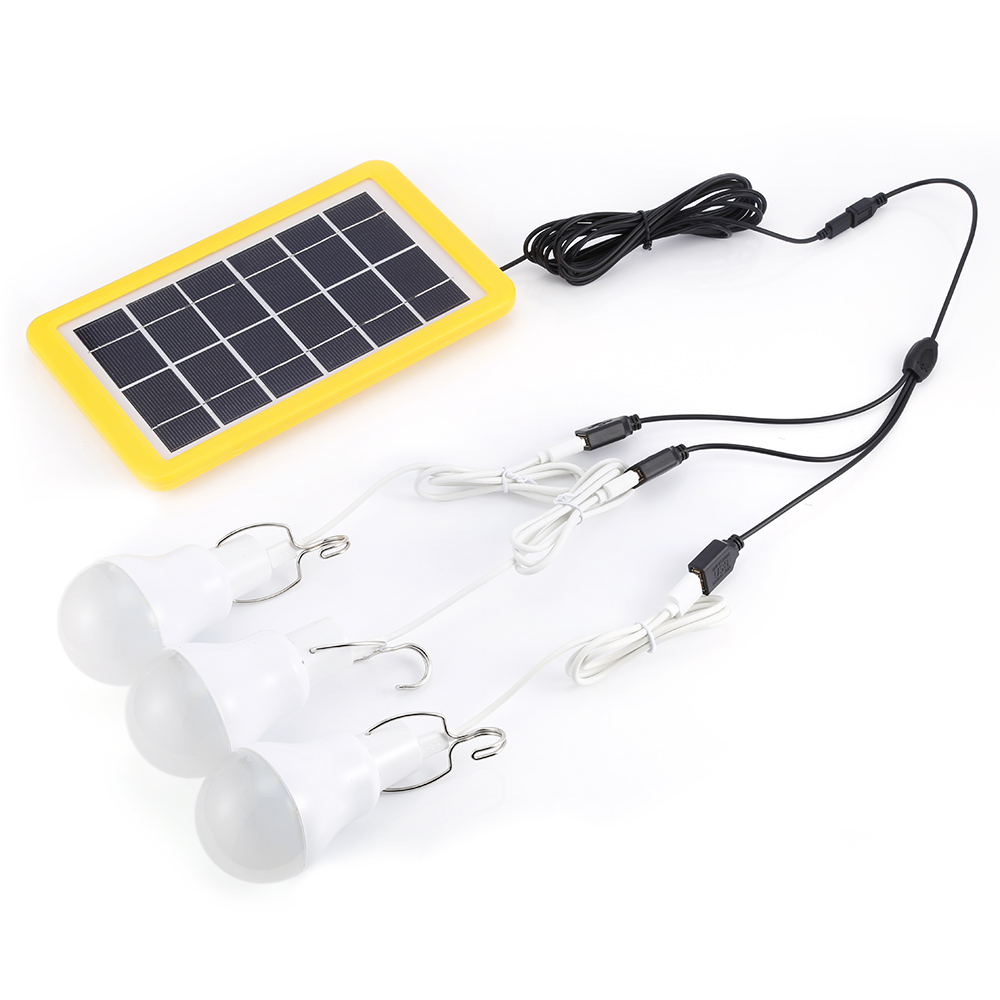 3GS - 1200 3W Light Control Solar Panel Emergency Lamp Bulb Kit