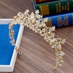 Brides Hair Jewelry Baroque Handmade Beaded Luxury Pink Gold Crowns Crystal Tiara Sweet Princess Tiaras Wedding Hair Accessories