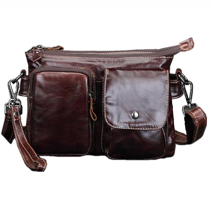 ФОТО  Genuine Leather Bag Casual Men Handbags Cowhide Men Crossbody Bag Men's Travel Bags Laptop Briefcase Bag for Man