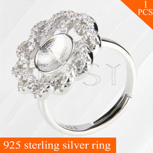 LGSY fine adjustable 925 sterling silver rings accessories with curly round shape pearls seat
