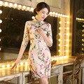 Peach blossom Chinese Traditional Women's Silk Half Sleeve Qipao Short Mini Cheongsam Dress S M L XL XXL Free shipping