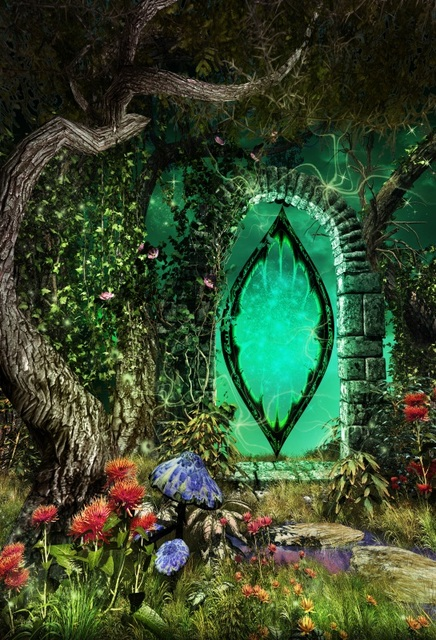 Laeacco Fairytale Garden Old Tree Arch Flowers Baby Photography Backgrounds For Photo Studio Vinyl Custom