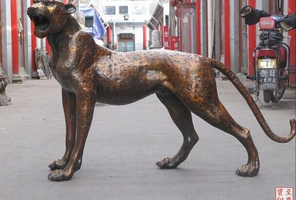 006091 HUGE Africa cheetah Red Bronze Sculpture fierce Carnivora Felidae animal statue