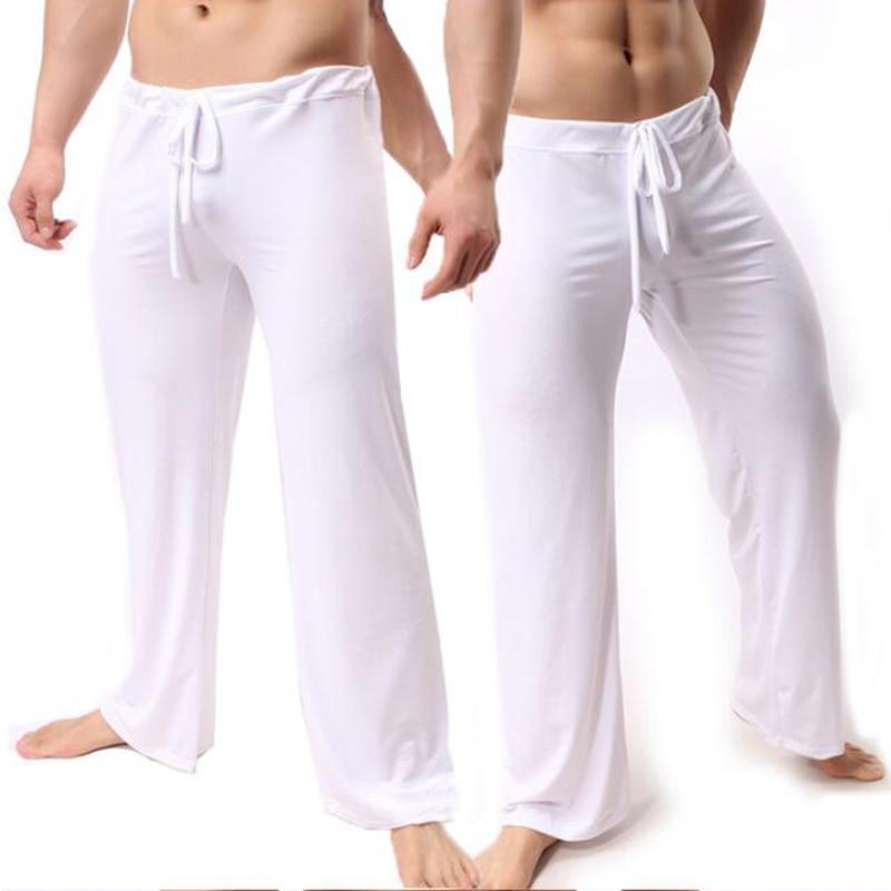 Brand Man Long Pant Sleepwear Comfy Breathable Slip Mans Sleep Bottoms Men's Casual Trousers Homewear See Through Pajama Pants