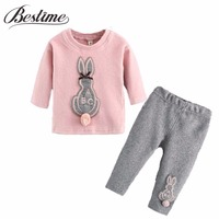 Autumn Children Clothing Set Cartoon Rabbit Kids Long Sleeve Fleece Shirt Full Pants 2PCS Girl Set