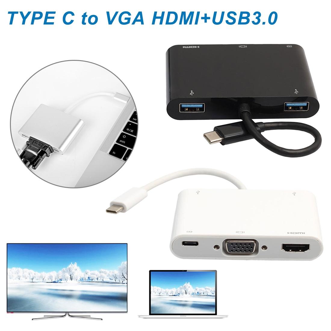 USB C адаптер HDMI VGA Тип C к HDMI VGA USB3.0 аудио конвертер 4K x 2K для ноутбука Macbook