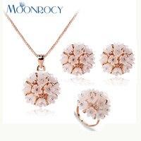 Moonrocy liberan el color oro flor lindo CZ cristal austriaco collar Pendientes y anillo de la joyería para Niñas mujeres