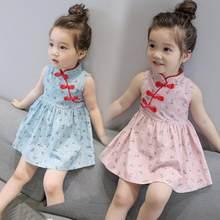 Cinese Del Bambino di Stile Della Ragazza Del Panno Del Fiore Stampato Vestito  Dal Capretto di bb120e45e3b