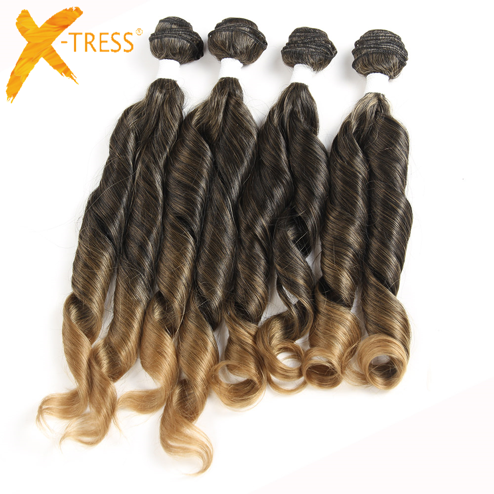 X-TRESS Synthetic Funmi Curly Hair Bundles 4Pcs/Pack 16 16 18 18inches Hair Weave Ombre Color T1B/27 High Temperature Fiber Hair