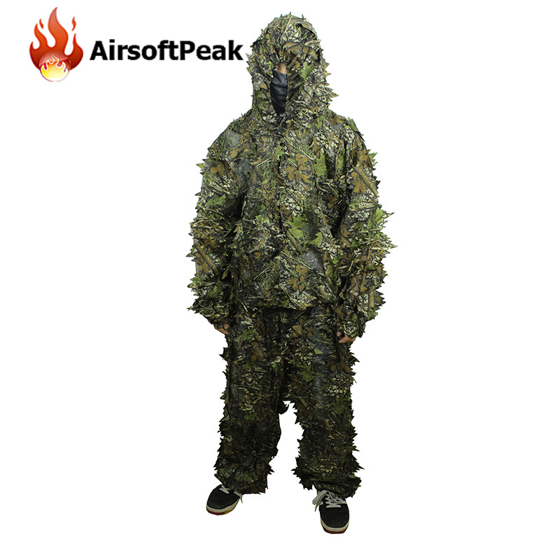 5c72b2826e5 3D Leaf Camouflage Hunting Camo Tactical Ghillie Suit Disguise Uniform Set  Military Army Jungle Birding Outdoor
