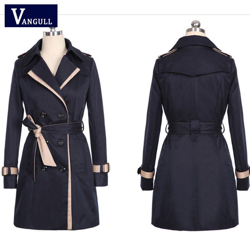 Vangull 19 Fashion Women Thin Trench Coat Turn-down Collar Double Breasted Patchwork Long Trench Coat Slim Plus Size Wind coat 6