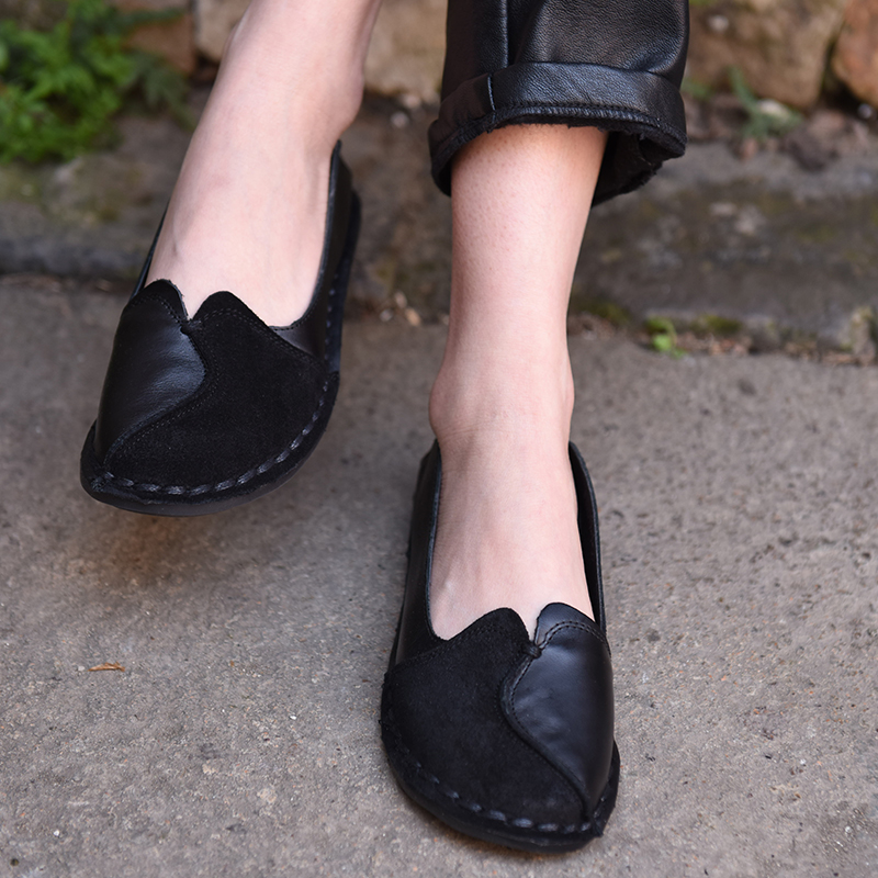 À Main En Bouche Mujer De Profonde Vache Appartements Mocassins Rétro Cuir Artmu Chaussures Noir La Nouvelle marron Femmes Semelles Souples Zapatos Femme Peu D'origine FwqnnPO6