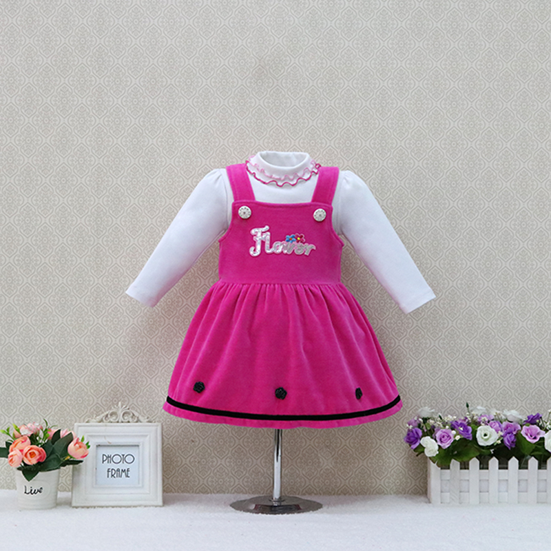Autumn and Winter baby long-sleeved girls pure cotton blouse+velour strap dress 2 pieces/set children christmas kids clothes boots bronx ботинки на каблуке page 6