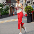 Cordón de La Muchacha de Nueva Moda Side Dividir Largo Faldas Delgado Vendaje Mujeres de la falda Recta Larga Delgada Maxi Falda Lápiz de Color Sólido faldas