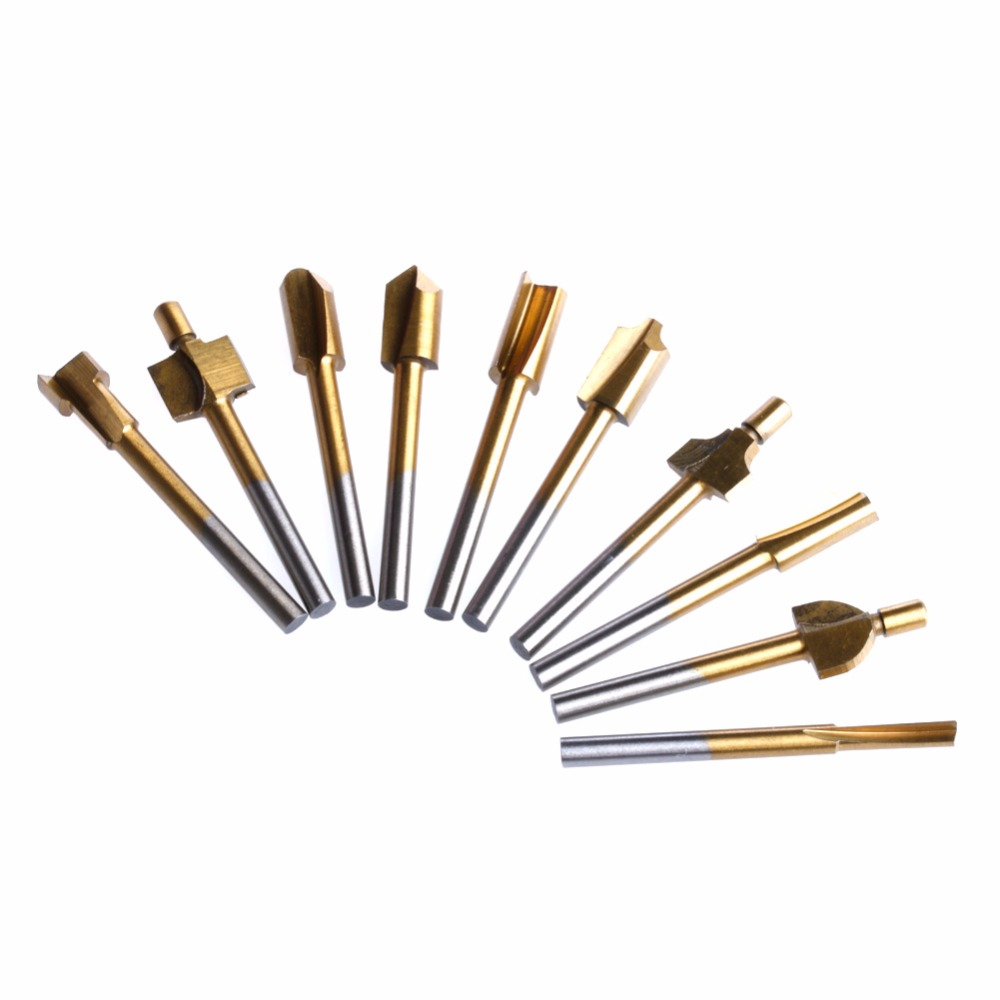 10 Pcs Titane Mini Hss Routeur Bits Tondeuse 1/8 3mm Tige Dremel pour Outil Rotatif